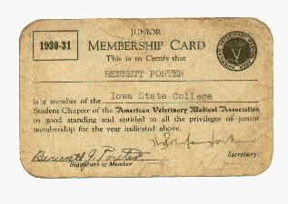 American Veterinary Medical Association Membership Card 1931
